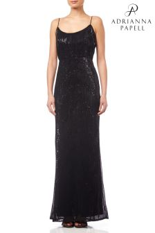 Adrianna Papell Black Pleated Sequin Dress