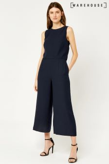 Warehouse Navy Double Layer Jumpsuit
