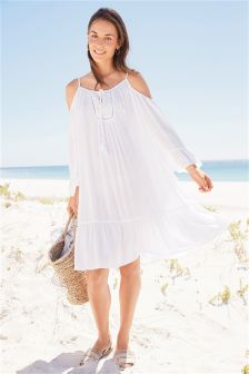 Broderie Cold Shoulder Cover Up