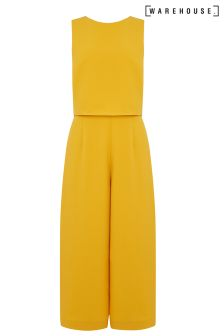 Warehouse Mustard Double Layer Jumpsuit