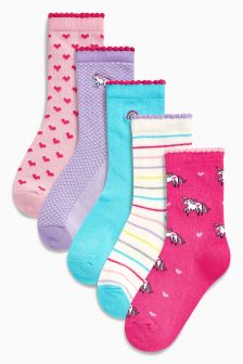 Unicorn Socks Five Pack (Younger Girls)