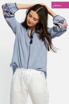 Joules Blue Stripe Yolanda Woven Top