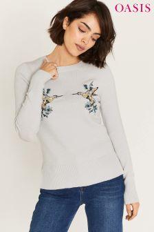 Oasis Illustrator Grey Embroidered Kissing Bird Knit Jumper