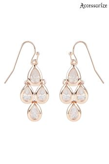 Accessorize Clear RG Sparkle Droplet Earrings