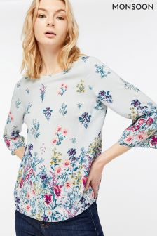 Monsoon Grey Gemma Floral Placement Print Top