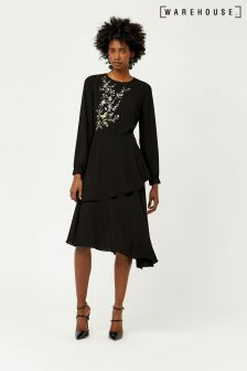 Warehouse Black Oriental Bird Embroidered Midi Dress