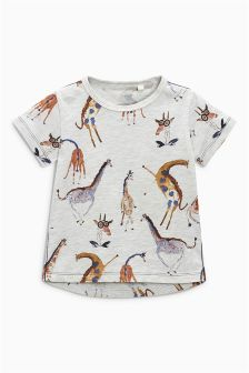 Watercolour Giraffe Print T-Shirt (3mths-6yrs)