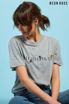 Neon Rose Grey Wildflower Slogan T-Shirt