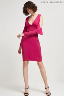 French Connection Pink Beau Viscose Cut Out Shoulder Dress