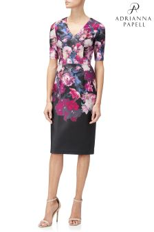 Adrianna Papell Black Printed Scuba Sheath Dress