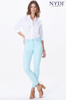 NYDJ Pale Aqua Blue Sheri Slim Ankle Jean With Frayed Hems