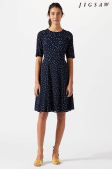 Jigsaw Blue Spot Fit And Flare Dress