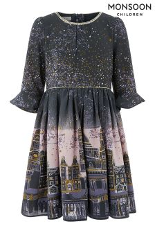 Monsoon Grey Stargaze Ombre Dress