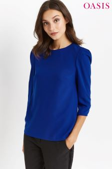 Oasis Blue Leg Of Mutton Sleeve Top