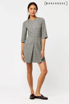 Warehouse Black/White Mono Checked Box Pleat Dress