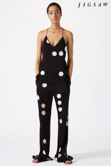 Jigsaw Black Oversized Spot Trouser