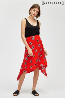 Warehouse Red Fan Floral Skirt