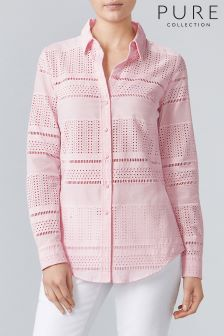 Pure Collection Pink Cotton Broderie Anglais Shirt