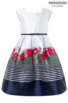 Monsoon Blue Fran Border Dress