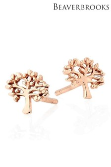 Beaverbrooks Silver Rose Gold Plated Tree Stud Earrings