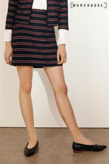 Warehouse Blue Bridget Stripe Skirt