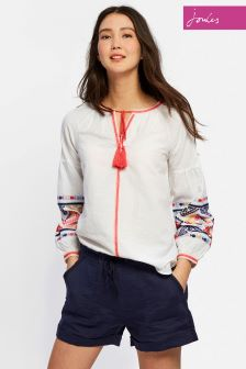 Joules Bright White Yolanda Woven Top