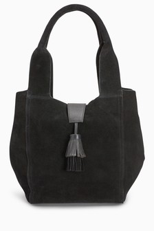 Leather Tassel Hobo Bag