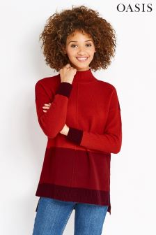 Oasis Red Funnel Neck Colourblock Jumper