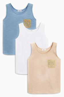 Metallic Pocket Vests Three Pack (3-16yrs)