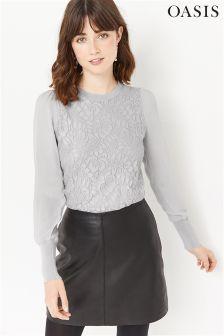 Oasis Grey Stella Metallic Lace Knit