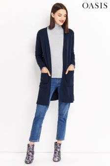 Oasis Blue Longline Edge To Edge Cardigan