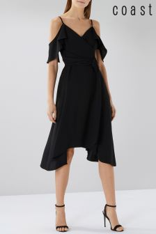 Coast Black Camilla Wrap Dress