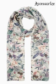 Accessorize Cream Digital Blooms Classic Scarf