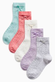 Pointelle Socks Five Pack (Younger Girls)