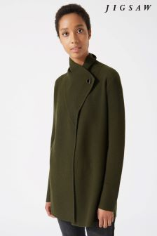 Jigsaw Green Ring Fastening Pique Cardigan