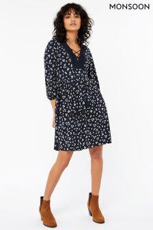 Monsoon Navy Ciara Ditsy Print Dress