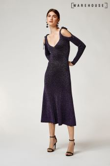 Warehouse Purple Sparkle Tie Shoulder Maxi Dress