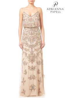 Adrianna Papell Nude Multicolour Beaded Floral Gown
