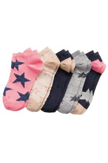 Star Pattern Trainer Socks Five Pack