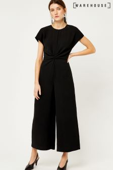 Warehouse Black Twist Front Jumpsuit