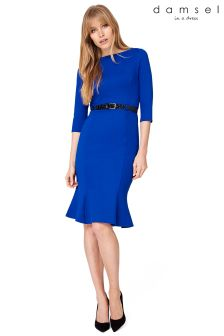 Damsel Blue Hawthorne Belted Ponte Dress