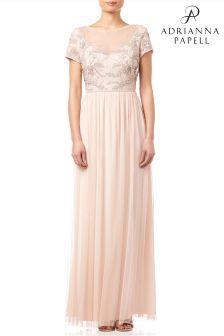 Adrianna Papell Blush Cap Sleeve Beaded Tulle Evening Dress