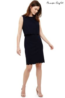 Phase Eight Navy Saffron Scallop Double Layer Dress