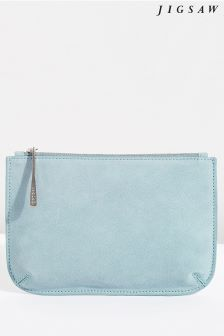 Jigsaw Blue Alba Medium Leather Pouch