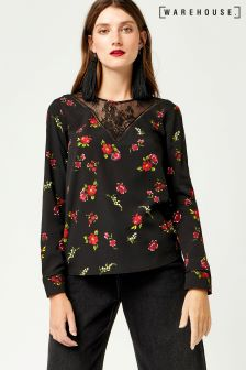 Warehouse Black Snow Drop Lace Yoke Top