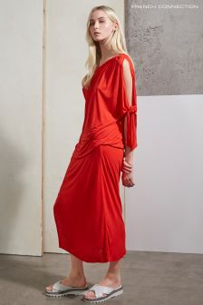 French Connection Red Tanna Jersey Asymmetric Midi Dress