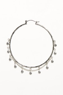 Bead And Chain Detail Hoop Earrings