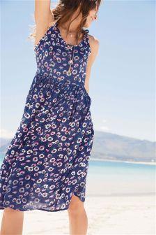 Palm Print Tie Short Dress