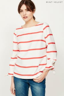 Mint Velvet White Woven Tie Cuff Stripe Top