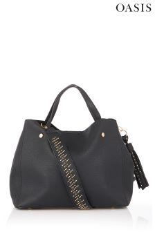 Oasis Black Strap Detail Tote Bag